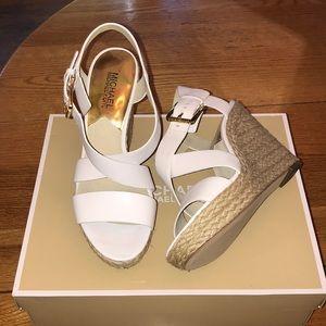 Michael Kors Giovanna Wedge Leather Sandals -Sz8.5